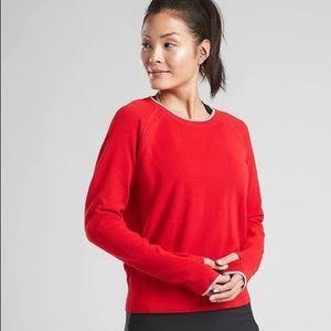 Athleta north point women's sweater, hibiscus red